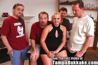 Thick Teen Wife Gets  Her 1st Bukkake Party!