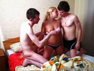 Slutty Teen Blonde Fucks Bf And His Friends