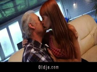 Grandpa Lucky To Fuck A Sexy Young Redhead Babe