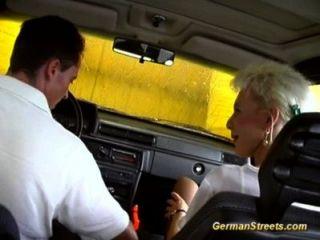 Blonde German Is Fucked In Car Washing