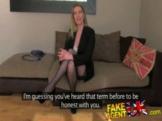 Fakeagentuk Stocking Clad Posh Milf Willing To Try It All On The Casting Couch