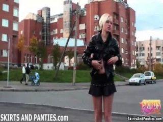 Naughty Nata Flashing Her Panties In Public