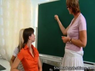 Marisa And Her Friend Have A Lesson With Older Lesbian Teacher