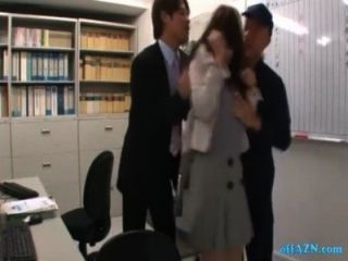 Office Lady Rapped By 2 Guys Fingered And Licked On The Chair In The Office