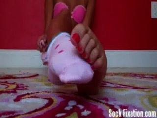 Exotic Teen Danica Slowly Removing Her Socks