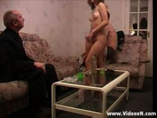 Russian Blonde In Thresome With Old Man And Young Guy