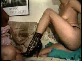 Blonde-on-blonde Hi-heeled Strapon Lesbian Love