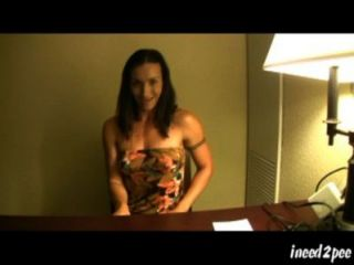 Lady Wets Her Panties Under Desk During Interview