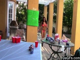 Beer Pong Game Turn In Sex Trip With Two Latinas