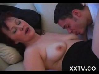 The Adult Business-woman With Bush Cunt & Her Young Fucker