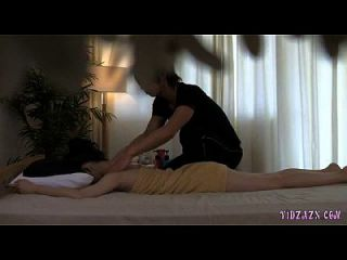 Asian Girl Massaged Fingered And Fucked With Toy By The Masseur On The Bed