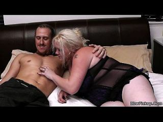 Busty Blonde Plumper Sucks And Rides Man Meat