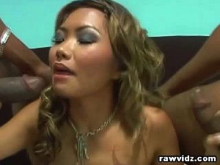 Lana Croft Asian Slut Fucked By Two Black Studs