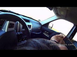 Stranded Teen Sucks Cock In The Car