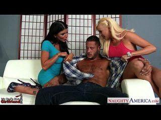 Hot Lesbians Romi Rain And Summer Brielle Sharing A Big Cock