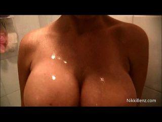 Nikki Benz Gets Wet & Cums In Her Shower!
