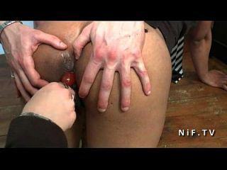 Sexy Amateur French Black Student Hard Anal Plugged On A Desk At School