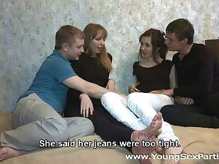 Four Teens Enjoy Hot Fucking