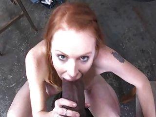 Skinny Pale Redhead Interracial Gangbang