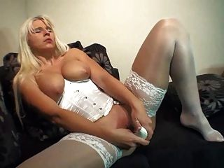 Blond Lady Inserts High Heel In Her Vagina