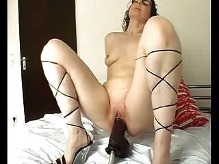 Riding On A Huge Thick Black Dildo
