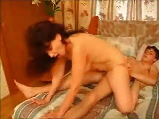 Brunette Mature Mom Riding Young Guy With Creampie Cumshot