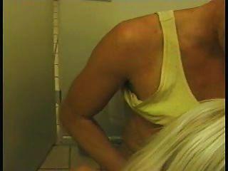 Old Blonde Tart Fucks In The Bathroom