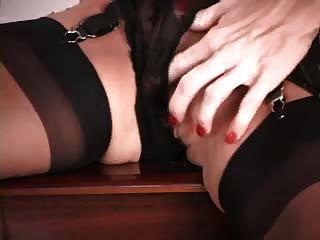 Mature Lady With Big Silicone Tits Masturbating