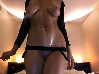 Stunning Asian Black Lingerie Strip - Oil And Masturbation