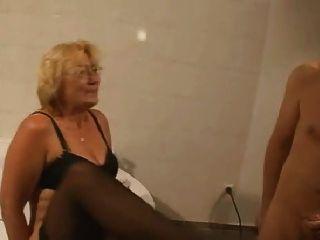 Mature In Stockings Fucks In The Bathroom
