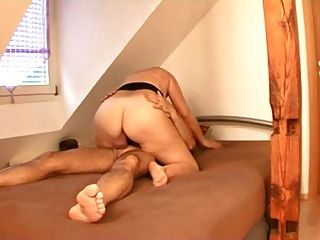 Chubby Blonde Mature Fucks With Boy Friend On Bed