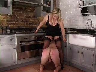 Femdom Corselette And Stockings Domme Spanks In The Kitchen
