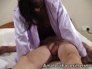 Younger Black Chick Facesits An Old Guy