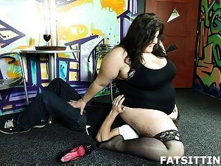 Bbw Mistress Facesitting & Giving Handjob To Her Slave