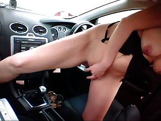 Hot Blonde Fucks Car Gear Shift