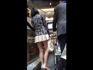 Asian Milf With A Very Short Skirt + Upskirt - No Panties