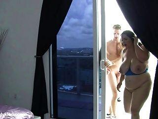 Bbw Milf Danica Danali Fucks Trainer Levi Cash On Balcony