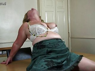 Old Big Breasted Grandmother Takes Off Her White Panties