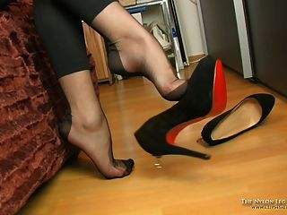 Mystery Dangling In Black Fully Fashioned Nylons