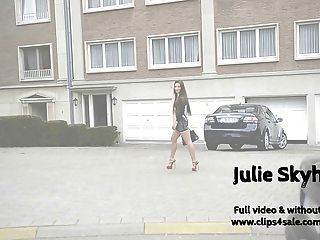 Julie S. Streethooker In Extreme Red High Heels & Upskirt