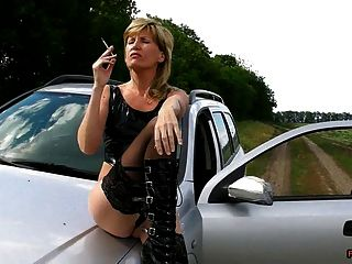 Pedal Pumping And Smoking In High Heeled Boots