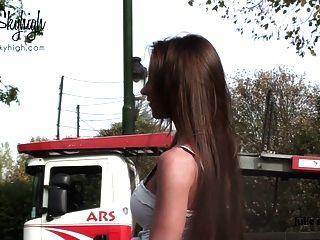 Julie Skyhigh Hooker Handcuffed Spandex Skirt& Nude Belly