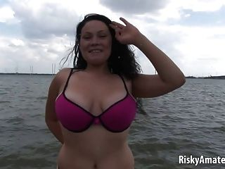 Busty Amateur Chick Taking Off Her Bra