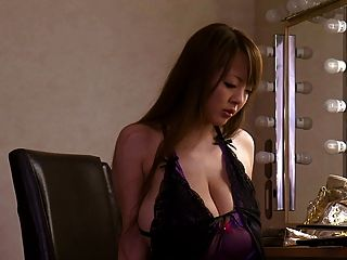 Asian With Giant Big Tits In Purple Lingerie
