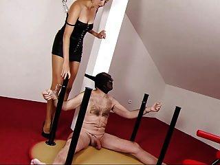 Slave Tan Pantyhose Footjob Cum