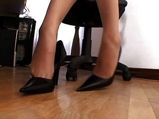 Sexy Cute Pantyhose Girl In Office