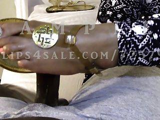 Ebony Wife Slides Husbands Dark Cock Between Her Sandles