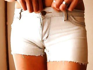 Most Round Ass Teen! Wearing Tight Denim Shorts! + Cameltoe!