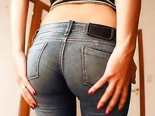Round Ass Teen In Ultra Tight Jeans And Thong. Hot As Hell!