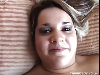 Cute And Cuddly Bbw Lies Back And Fucks Her Fat Juicy Pussy